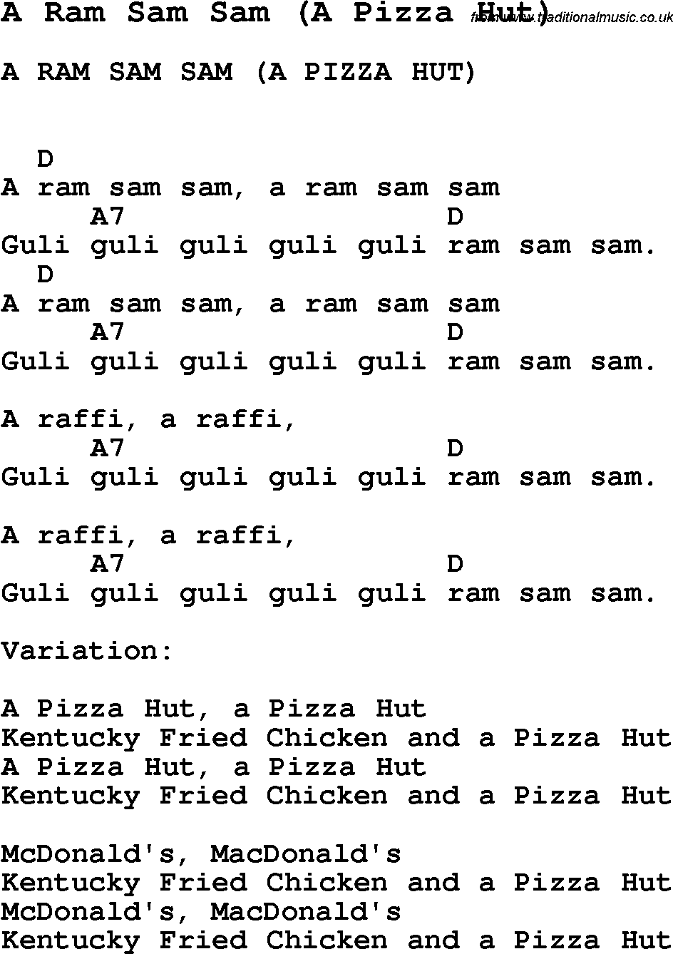 Summer-Camp Song, A Ram Sam Sam (A Pizza Hut), with lyrics and ...