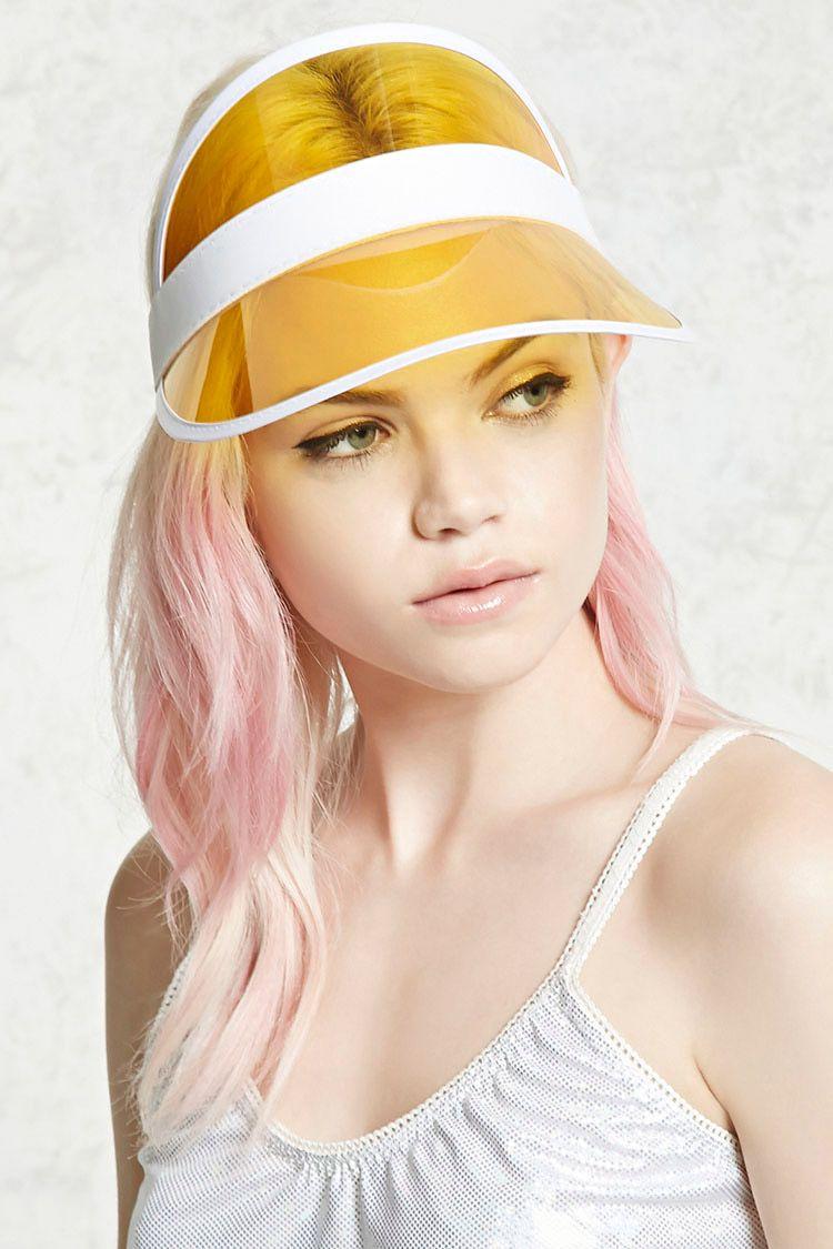 78cad72d956 A visor featuring a translucent brim and an elasticized ribbon band ...