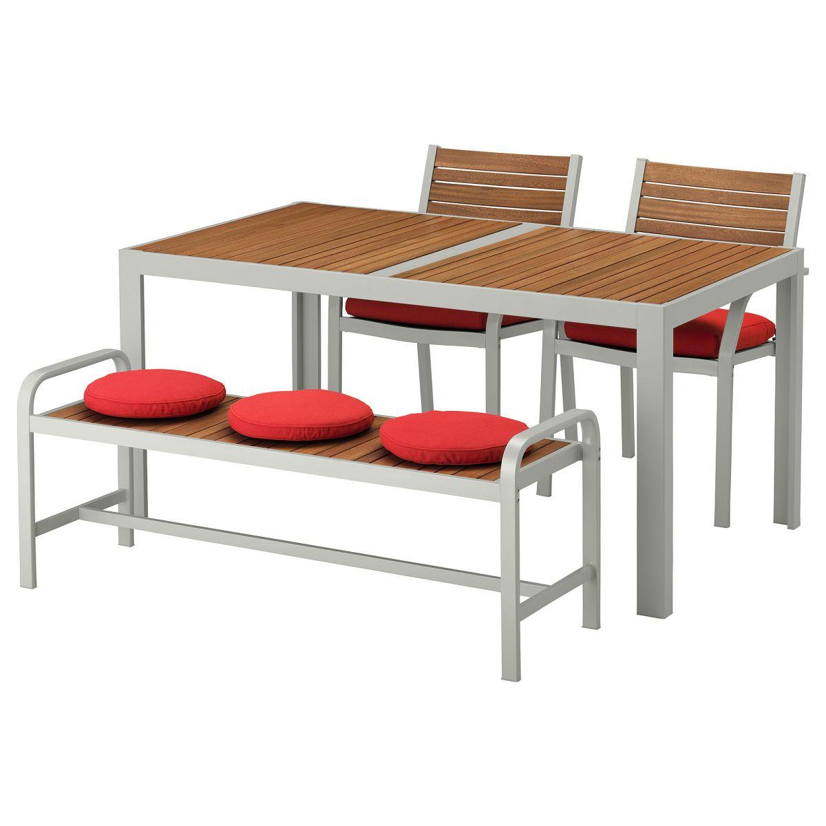 sjÄlland, tisch+2 stühle+bank/außen, hellbraun, rot jetzt bestellen