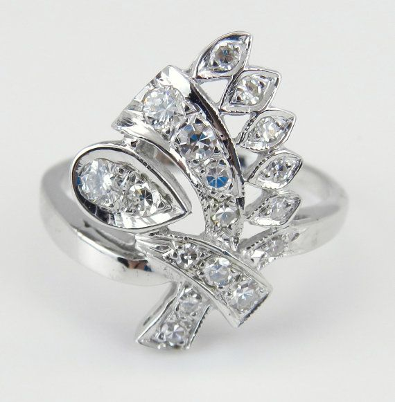 f6b7f2250eeb Diamond Ring Cluster Ring Vintage Ring Estate 14K White Gold Natural ...