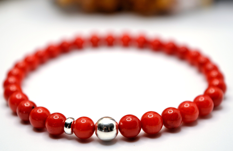 Red Coral 6mm stone bead stretch bracelet Bracelet