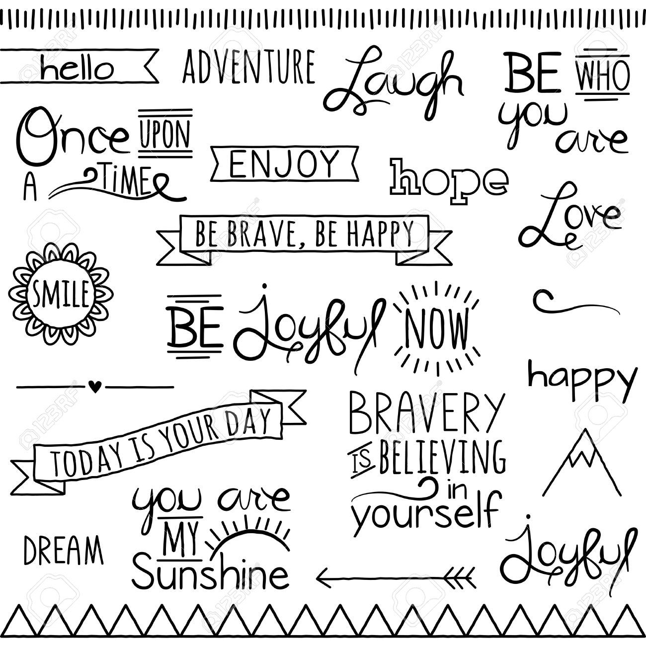 Doodle Words Clipart Clip Art, Typography Word Subway Art