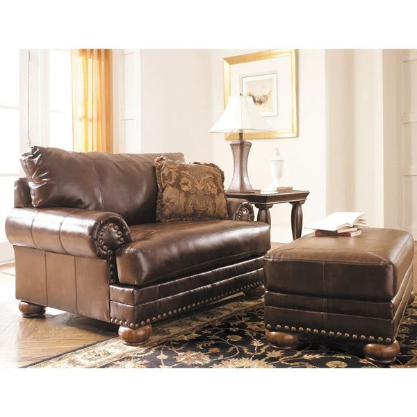 Amazing Brown Antique Bonded Leather Ottoman From Ashley