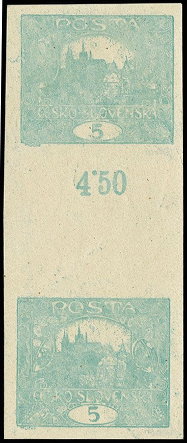 Czechoslovakia, 1919/20, Hradschin without foliage 5 h. imperforated ...