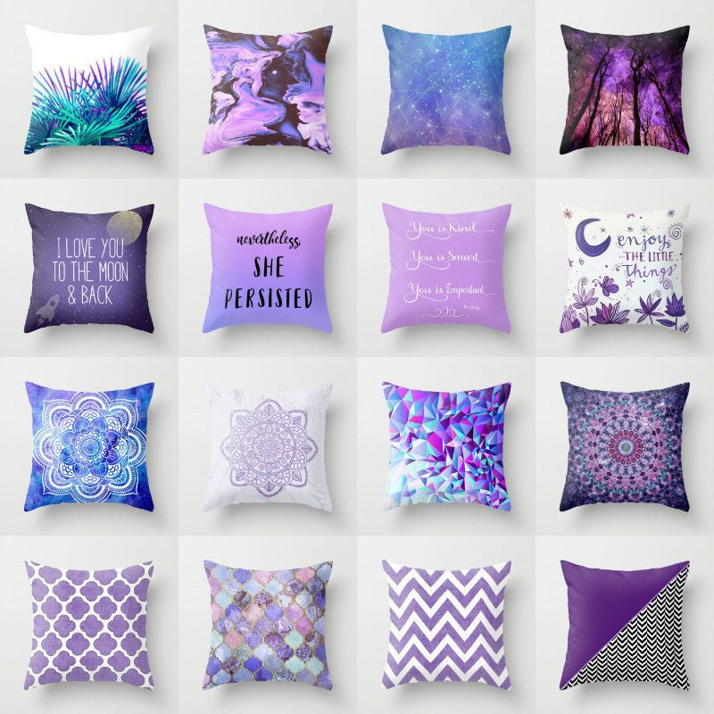 18x18 Cotton Linen Purple Pillowcase Sofa Waist Throw Cushion Cover Home Decor Cushion Cov Pillow Decorative Bedroom Purple Pillows Turquoise Throw Pillows