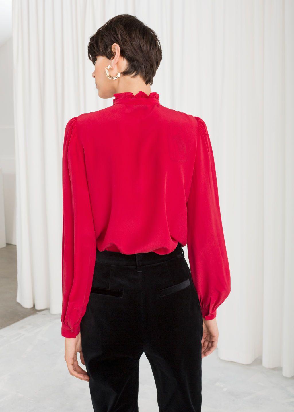 d8d5a9ff61fc49 Ruffle Collar Silk Shirt | Fashion wish list & ideas | Ruffle collar ...