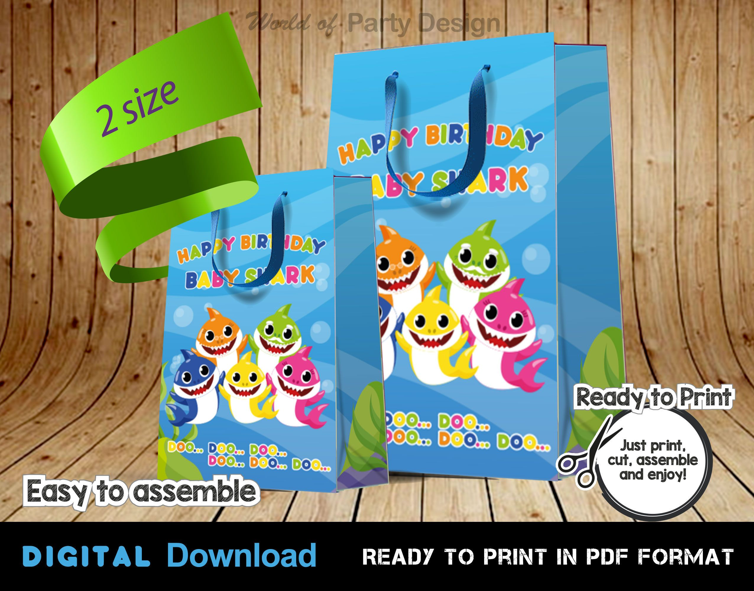 Baby Shark Paper Bag DIGITAL, Favor Bag, Printable Gift Package, Baby Shark Birthday Decorations