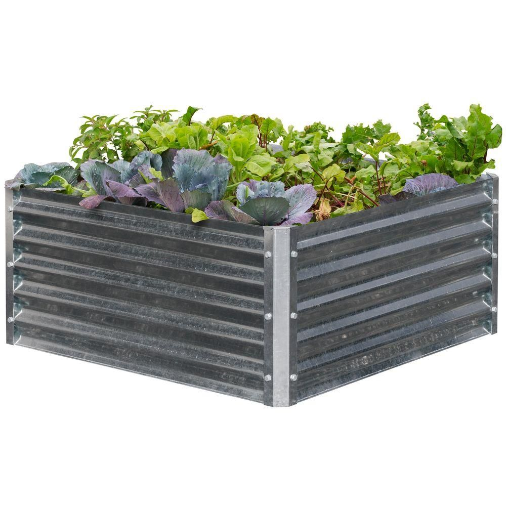 EarthMark Alto Series 40 in. x 40 in. x 17 in. Square Galvanized Metal Raised Garden Bed-MGB-H043 - The Home Depot