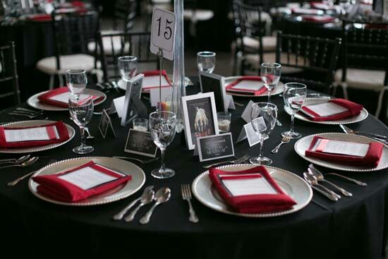 Hollywood Themed Tables Settings Black Table Cloth With