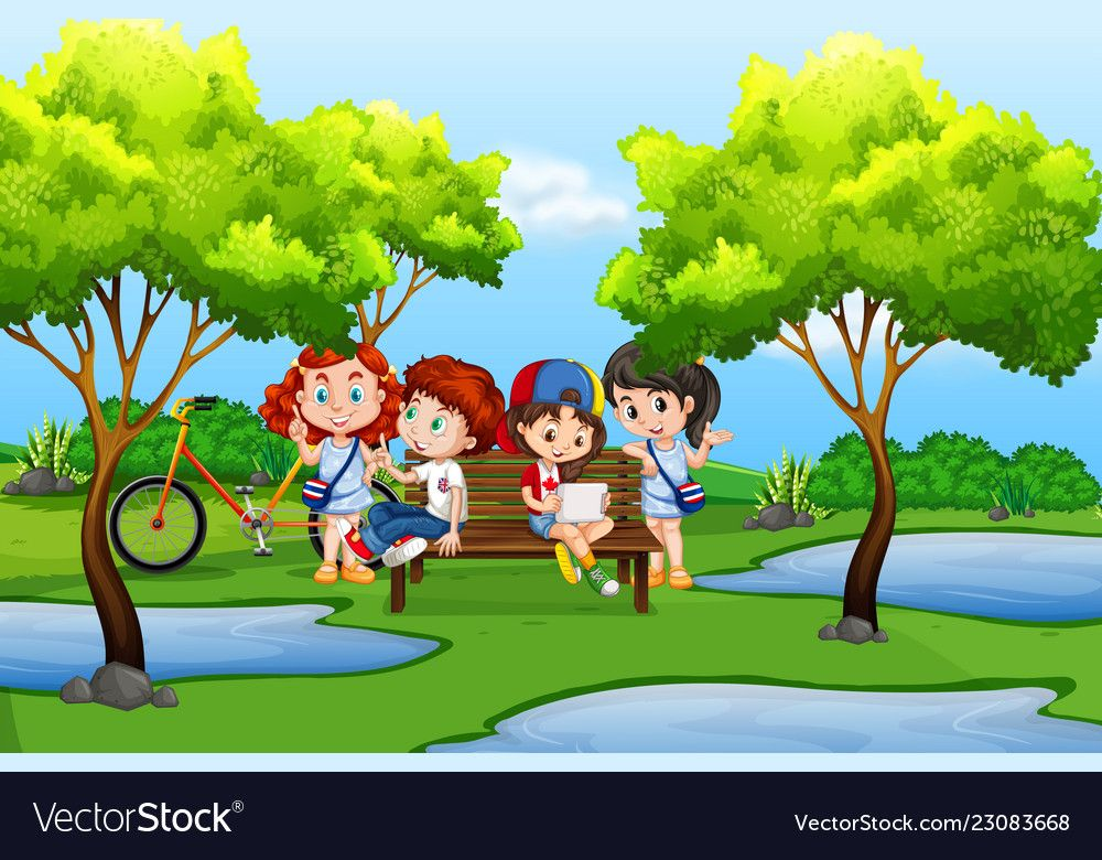 Young Kids In Nature Vector Image On Trường Học Mầm Non