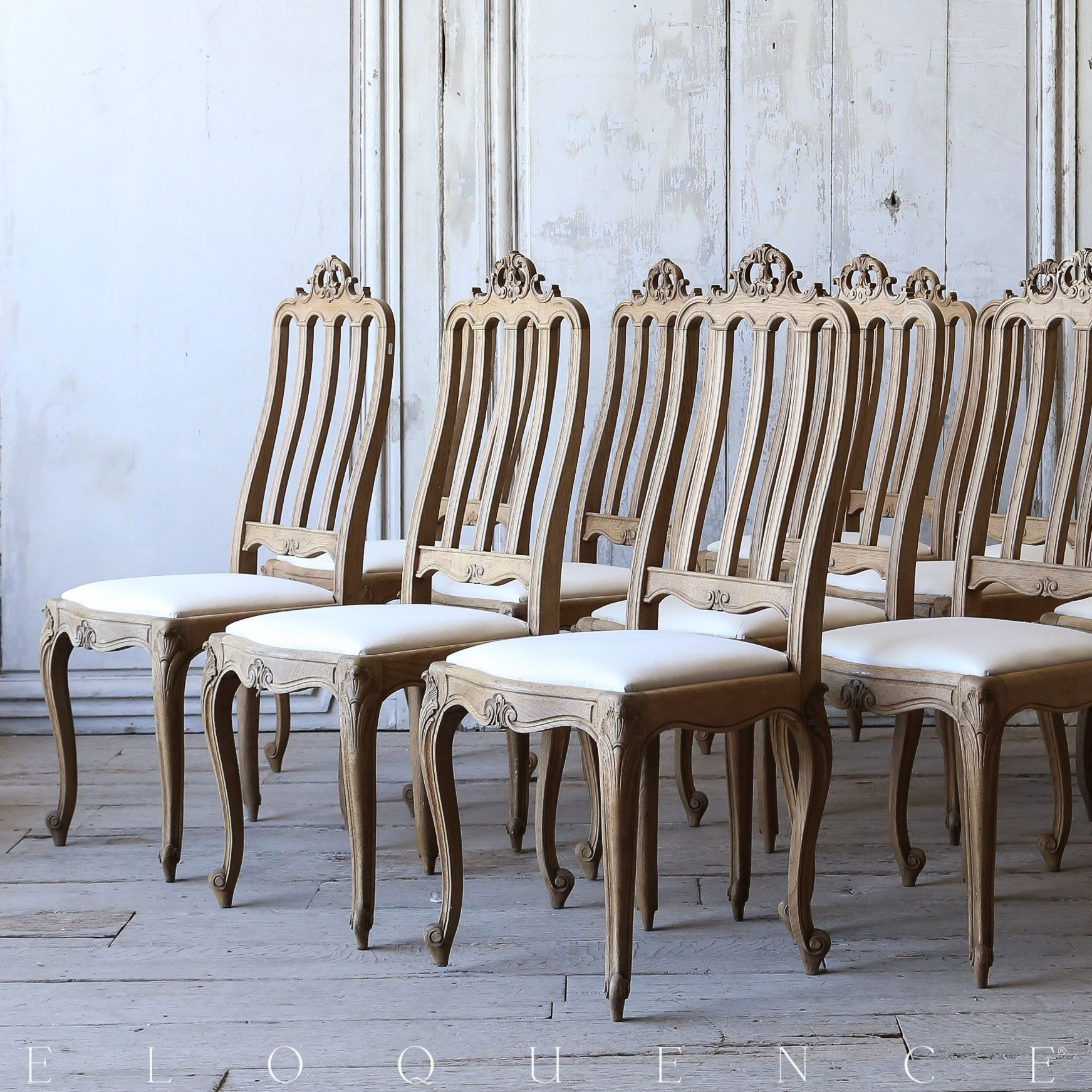 Eloquence, Inc. Set of 12 Antique French Oak Dining Chairs