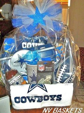 Sports theme baskets. Shown Cowboys | Dad Day Ideas | Pinterest ...