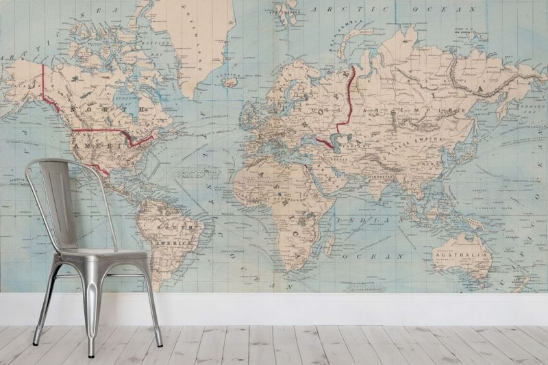 Vintage blue map of the world mural muralswallpaper vintage blue map of the world mural sold by muralswallpaperco there is another gumiabroncs Gallery
