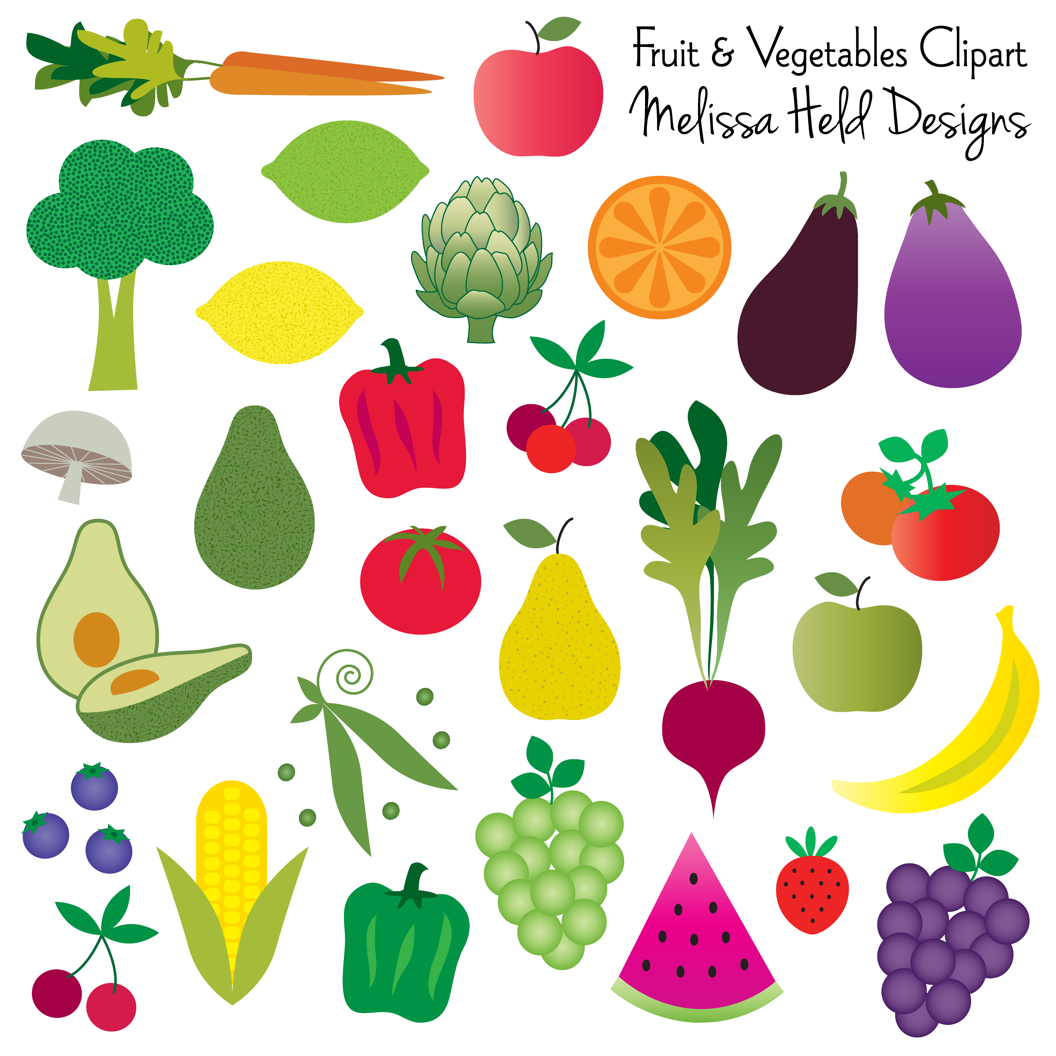 fruit and vegetables clipart bullet and scrapbook rh pinterest com fruits and vegetables clipart png fruits and vegetables clipart free