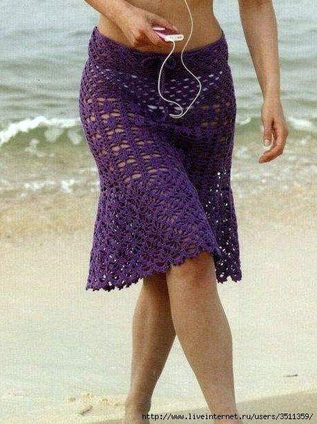 Purple Beach Skirt Coverup free crochet graph pattern