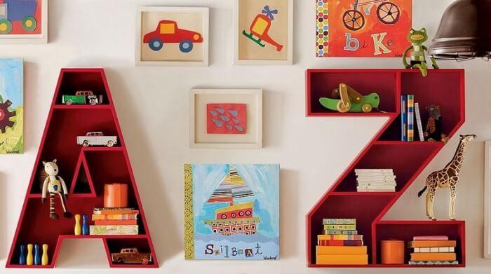 meuble rangement enfant en étagères murales lettres de lu0027alphabet