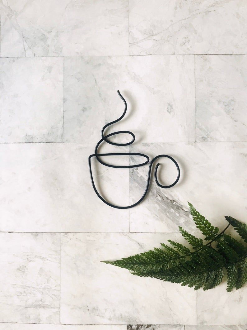 Tea Cup Wire Wall Hanging Wire Wall Art Wall Decor Wire Etsy Wire Wall Art Wire Art Coffee Cup Wall Art