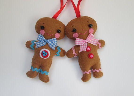 Felt gingerbread man and gingerbread girl, ginger couple, Christmas ornaments, felt ornament, stocking stuffer, holiday decor