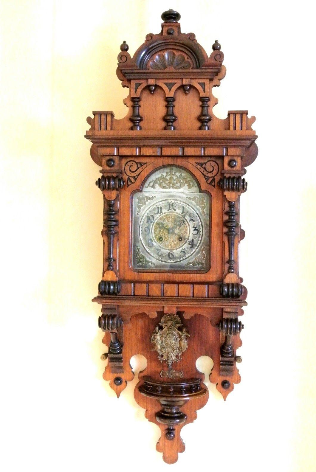 Gustav Becker Wanduhr Ca 1897 Regulator Freischwinger Pendeluhr Schlagwerk 118cm Antiquitäten Kunst Mobiliar Interieur Uhre Настенные часы Часы Заколки