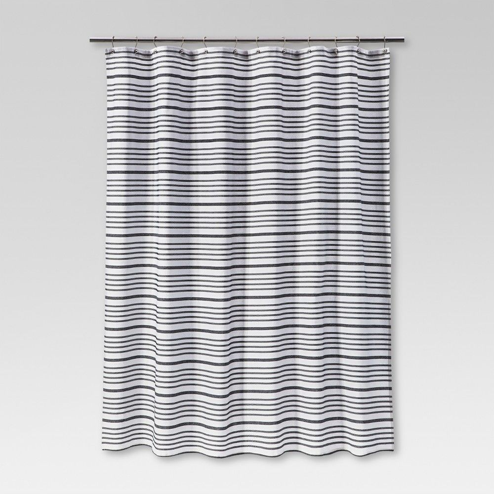 Multi Stripe Shower Curtain Black Threshold Products In 2019