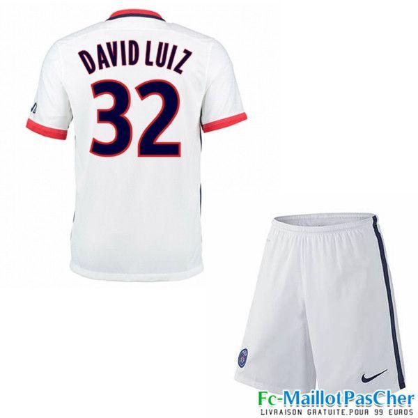 Nouveau Maillots Paris PSG blanc Enfant DAVID LUIZ 32 Exterieur 15 2016 2017
