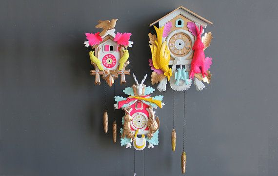 Neon Pink Green Gold Cuckoo Clock Working By Gallivantinggirls 199 00 Cuckoo Clock Pink Clocks Clock