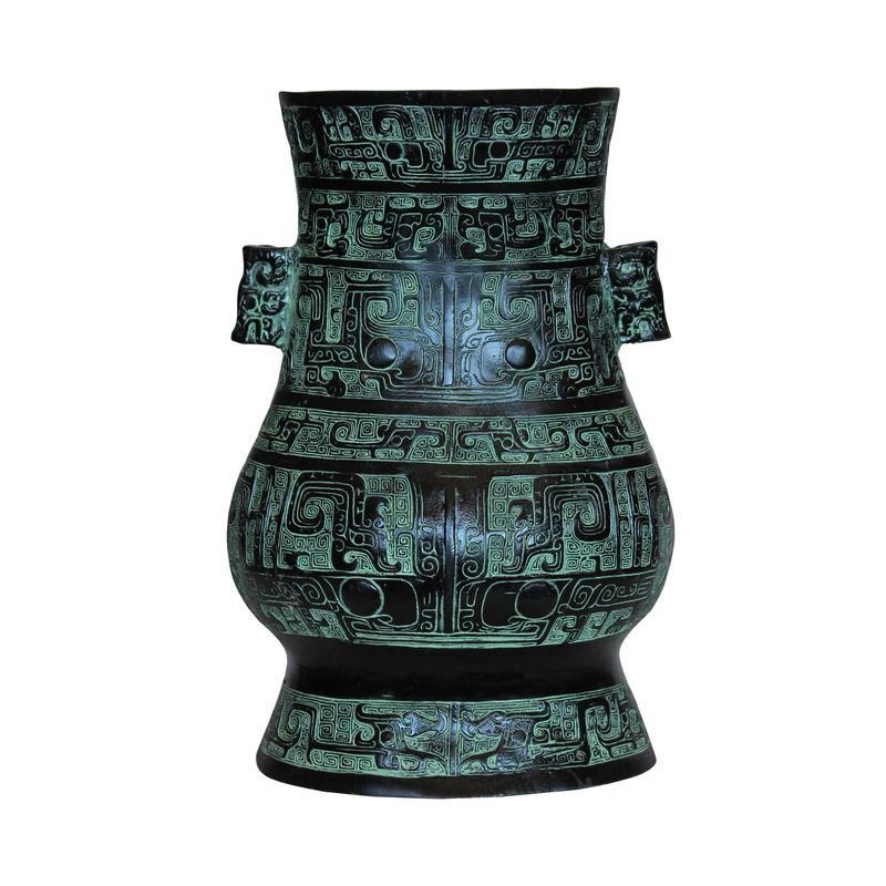 Chinese Oriental Green Bronzeware Home Decor Display