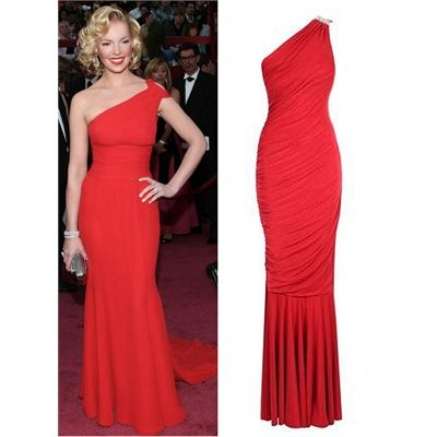One Shoulder Red Dress in the style of Katherine Heigl - http://www.fashionshop.net.au/shop/evening-gosh-celebrity-fashion/one-shoulder-red-dress-in-the-style-of-katherine-heigl/ #Evening, #GOSHCelebrityFashion #fashion #fashionshop