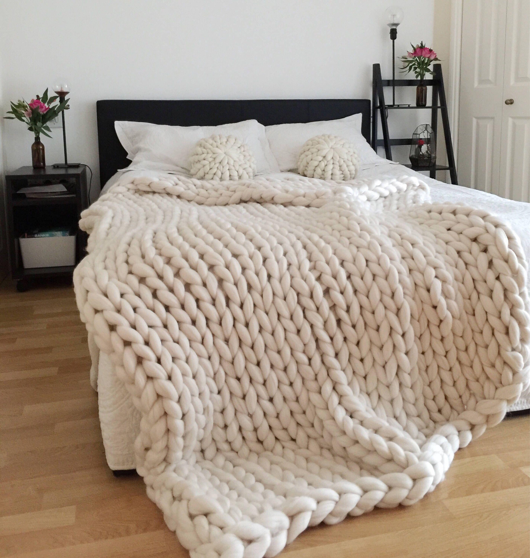 Chunky Knit Blanket White Blanket Chunky Knit Chunky