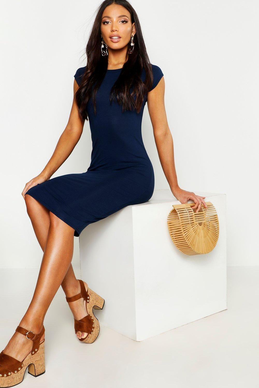 Cap Sleeve Jersey Bodycon Midi Dress Boohoo Bodycon Fashion Midi Dress Bodycon Blue Midi Dress [ 1500 x 1000 Pixel ]