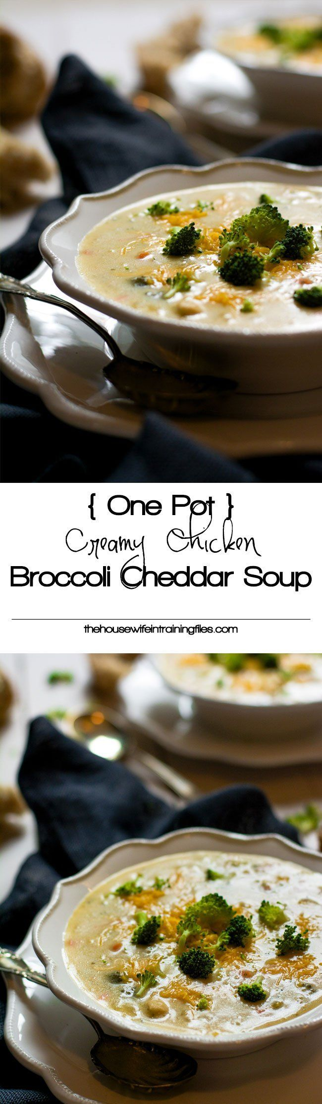 One Pot Lighter Creamy Chicken Broccoli Cheddar Soup