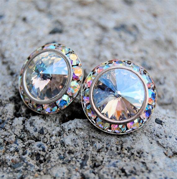 Ice Moonlight Shimmer Crystal Aurora Borealis Earrings Sugar Sparklers Swarovski Northern Lights Rhinestone Stud Mashugana