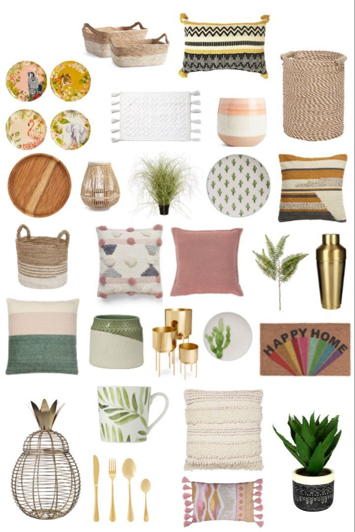 Summer decor for home and garden for budget prices. High street decor finds. Update your home and backyard in this seasons trends to create a beautiful outdoor living room and dining space. Cushions, artificial plants and dinner ware for your garden party #homedecor #summerdecor #gardendecor #gardenparty #summertrends #homeaccessories #gardenstyle #interiorstyling #budgethomedecor #budgetinteriordesign