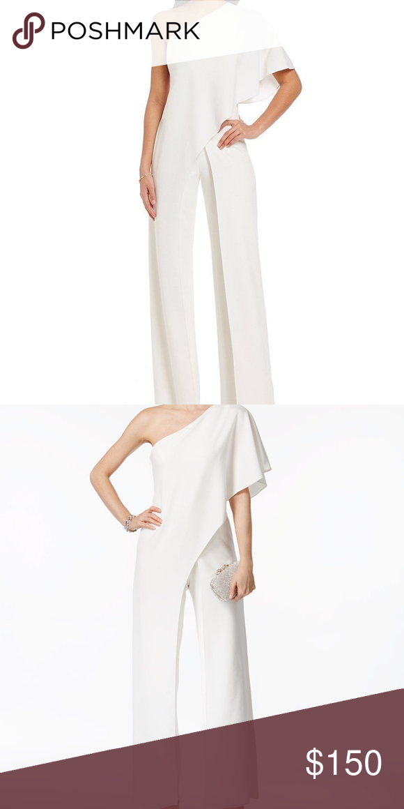 Adrianna Papell Draped One Shoulder White Jumpsuit Adrianna Papell