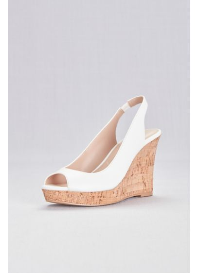 Peep-Toe Slingback Cork Wedge Sandals