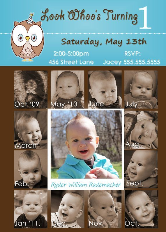 Look whoos turning 1 1st Birthday Boy 12 month photo invite card