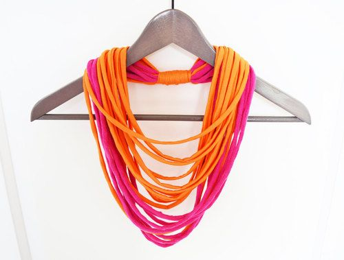 Fabric pink orange necklace neck ornament by imolabynoemiimola