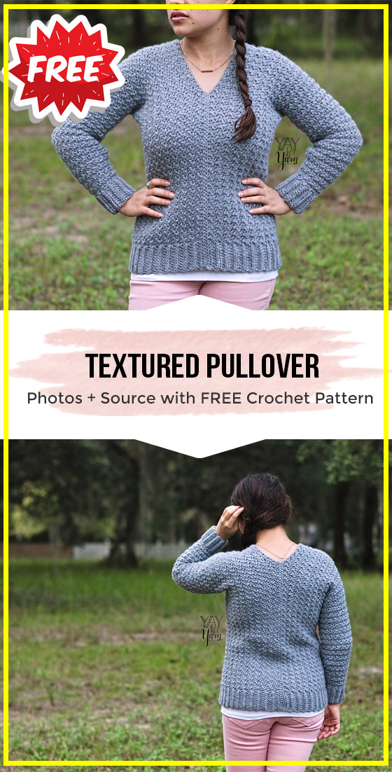Photo of crochet Textured Pullover free pattern