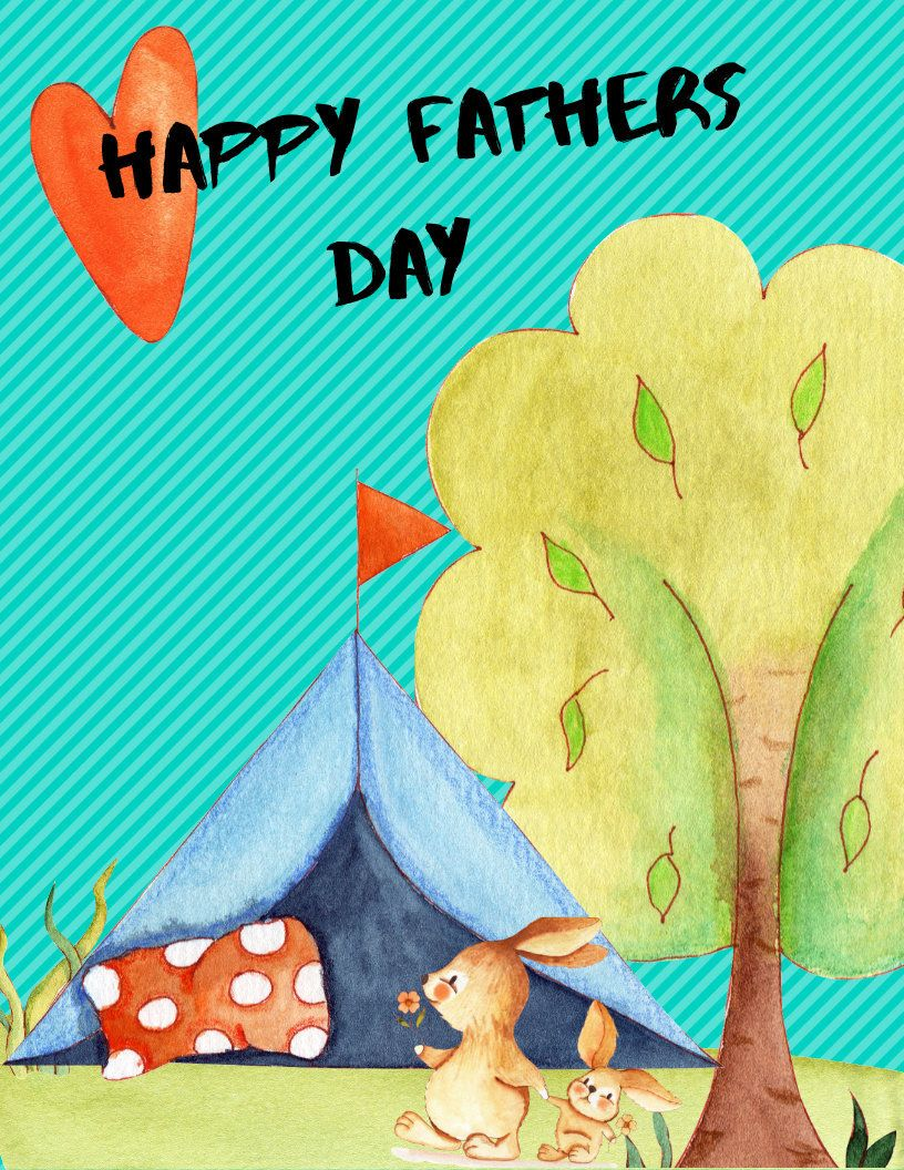 Cute bunny fathers day card fathers day card messages