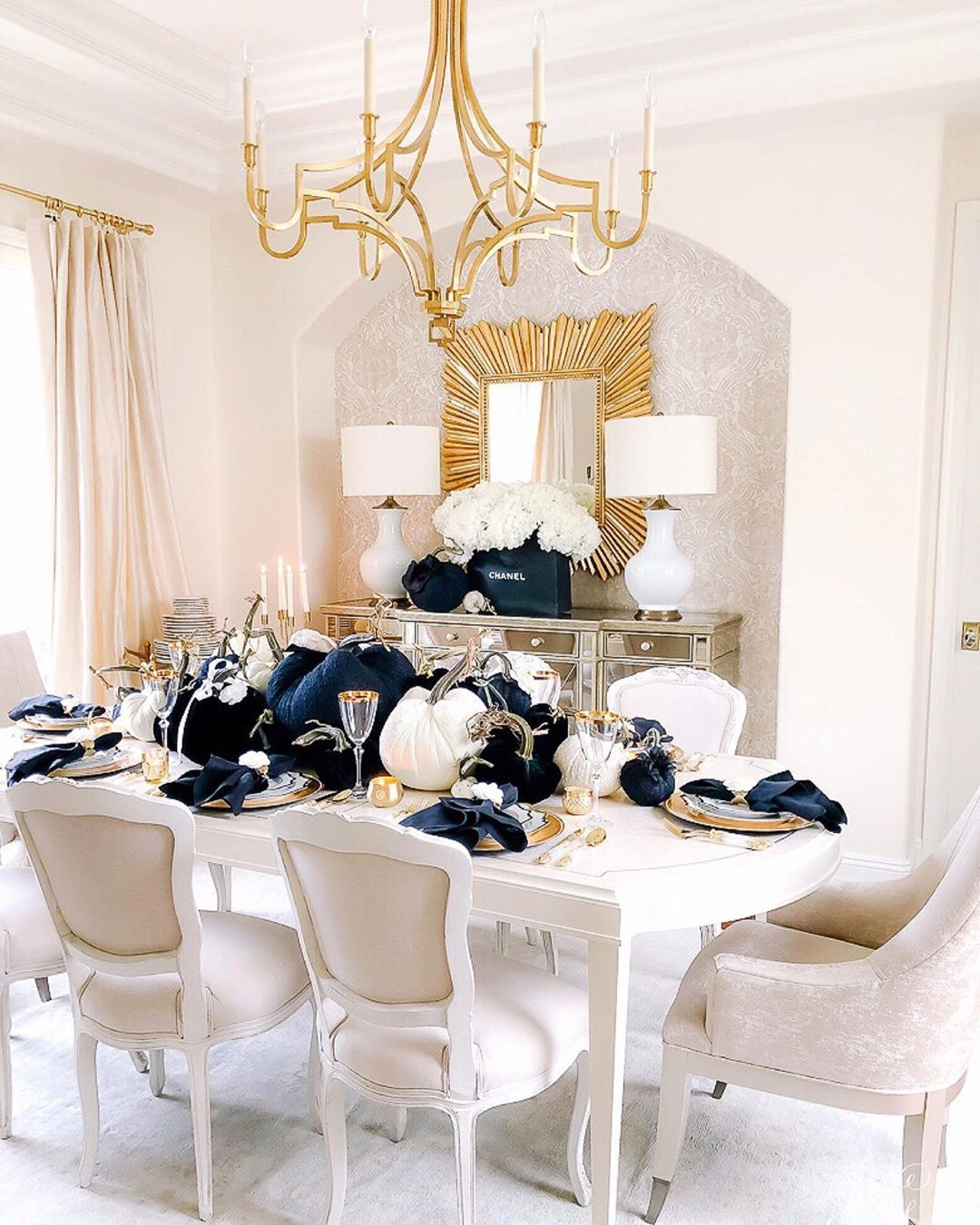 chanel glass dining table on image may contain table and indoor halloween table trending decor fall decor pinterest