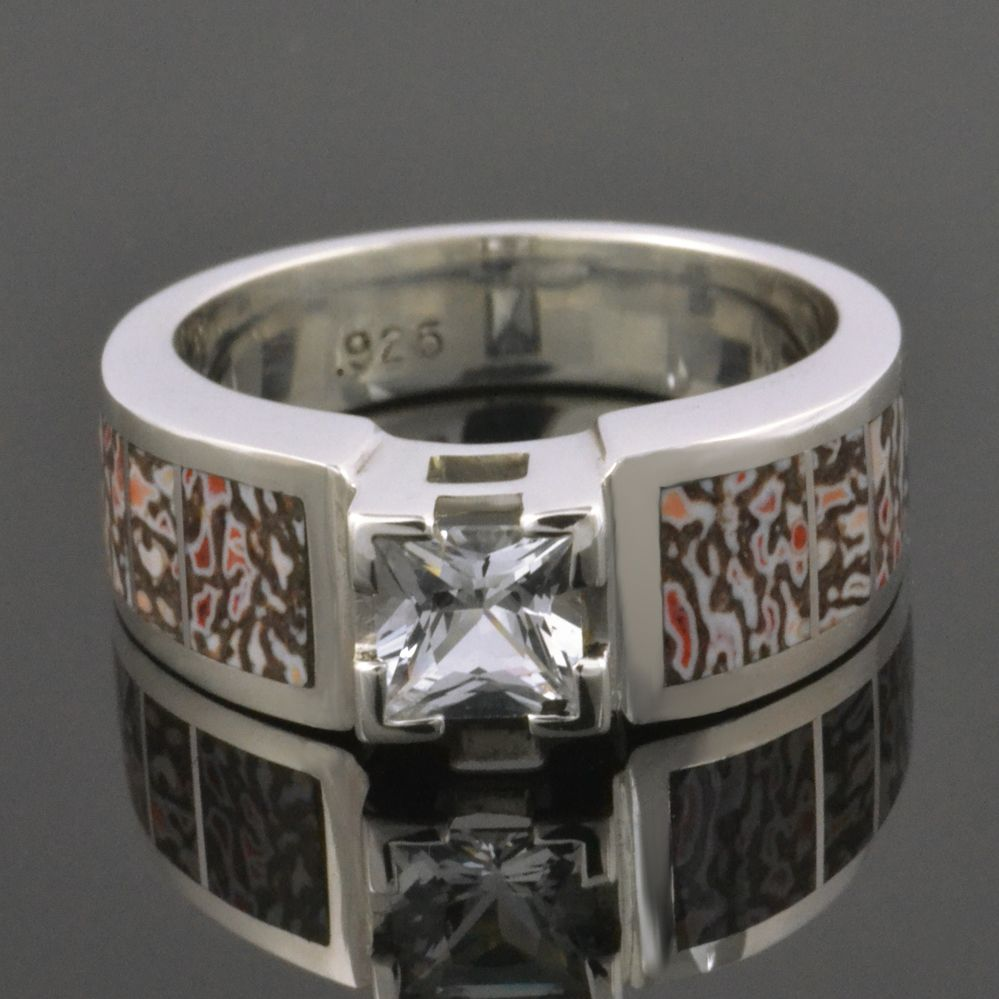 titanium wedding pin and bone dinosaur rings band meteorite
