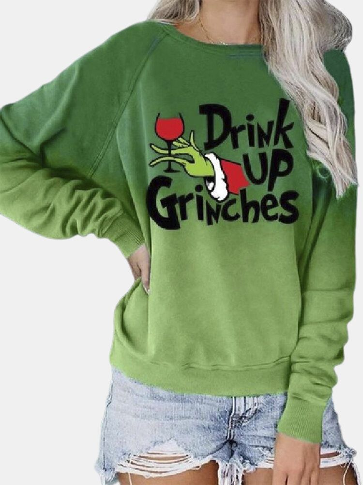 Christmas Grinches Print Long Sleeve Pullover Swea
