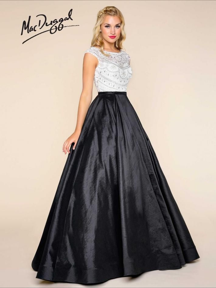 07ad2f6acc Cap sleeve, sheer beaded bodice, black/white ball gown | Mac Duggal 77130H