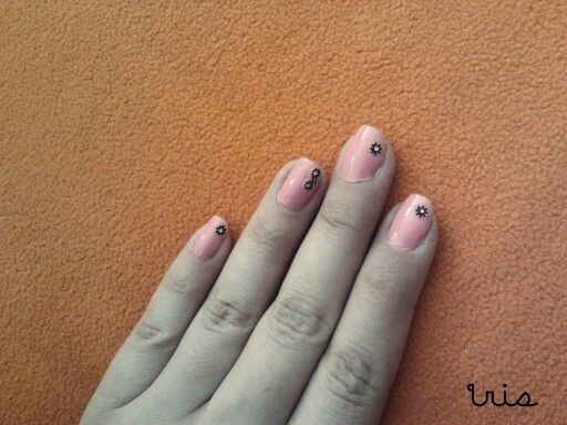 Pink/flowers/stickers nail art