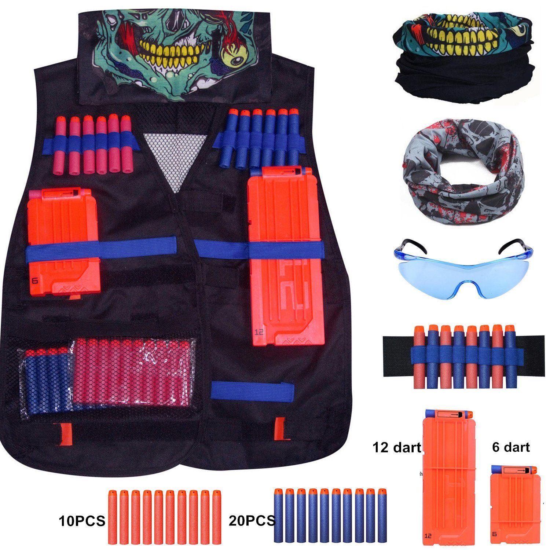 Tactical Vest Kit for Nerf Guns N Strike Elite Series with 30 Pcs Refill Darts