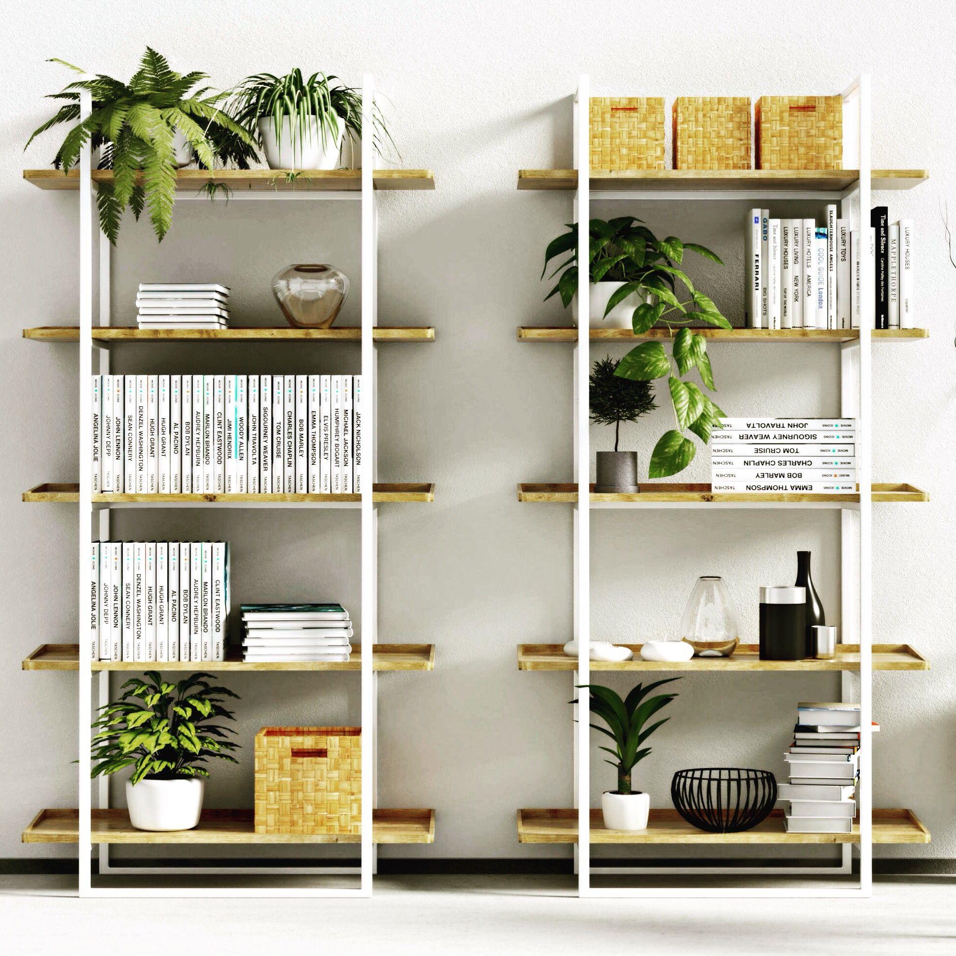 Natural Decoration And Modern Book Shelf Niva White White Bookcase Minimalist Shelves Modern Shelving Units