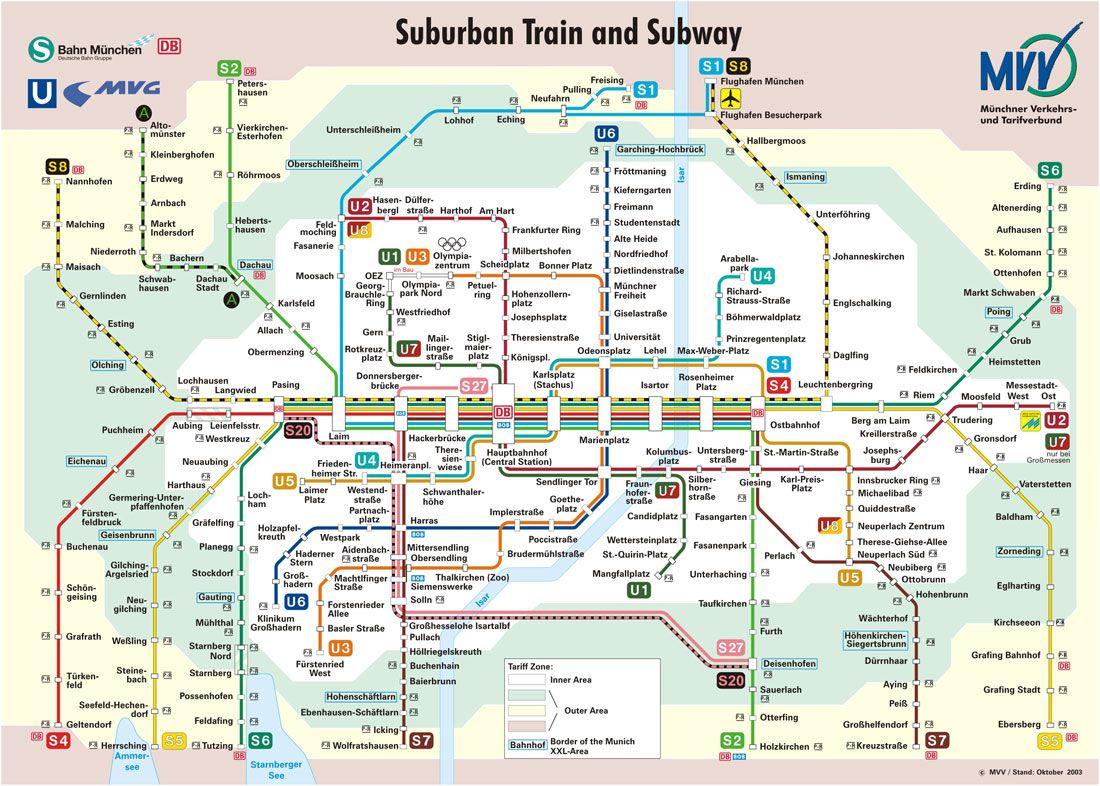 Munich train and subway map Mom Dad trip plan Pinterest