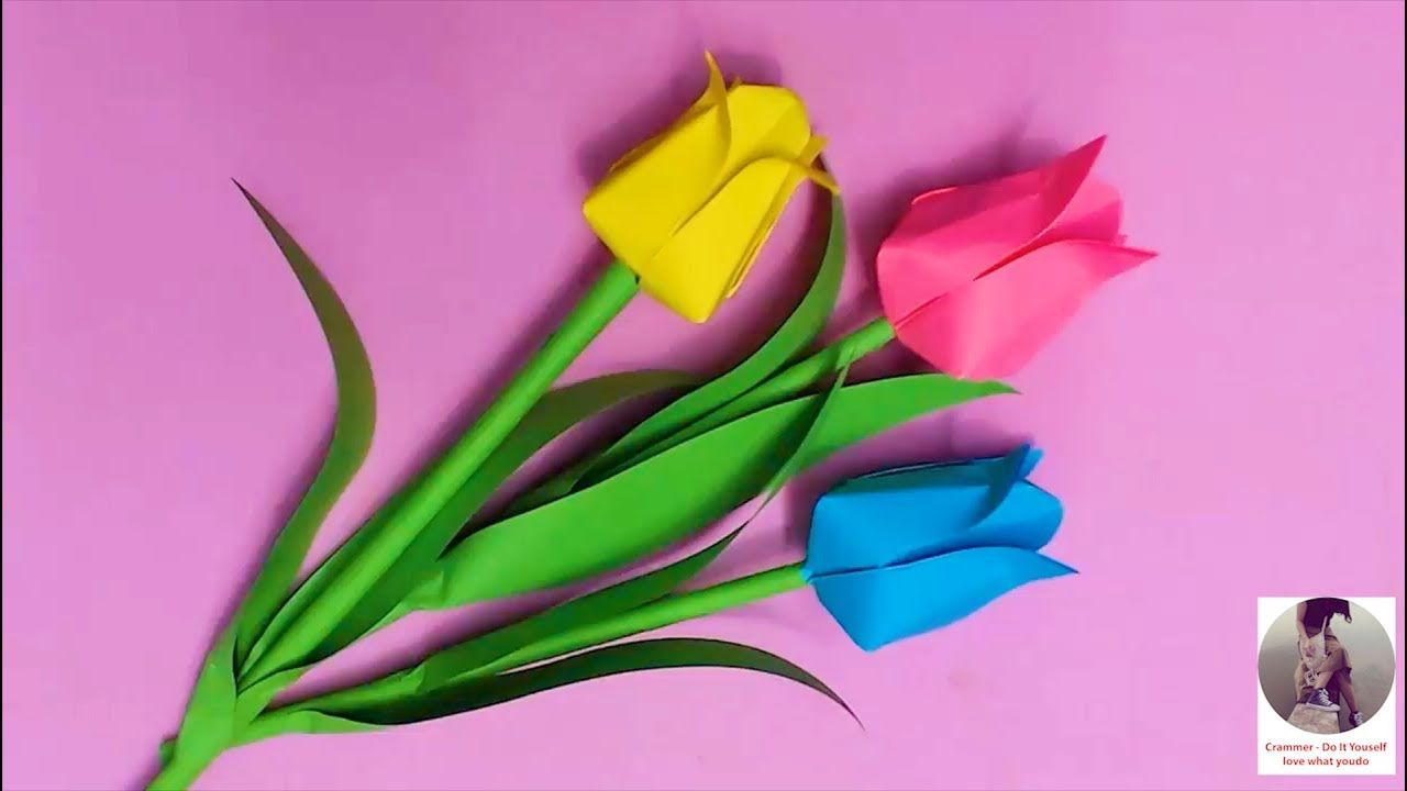 Diy How To Make Tulip Flower With Color Paper Diy Flowers