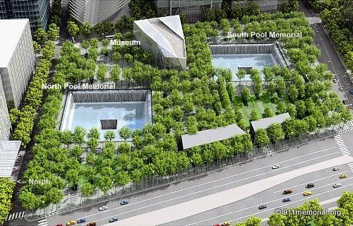 9/11 Memorial With 2 Waterfalls and Reflecting Pools  Set Within the Footprints of the Original Twin Towers