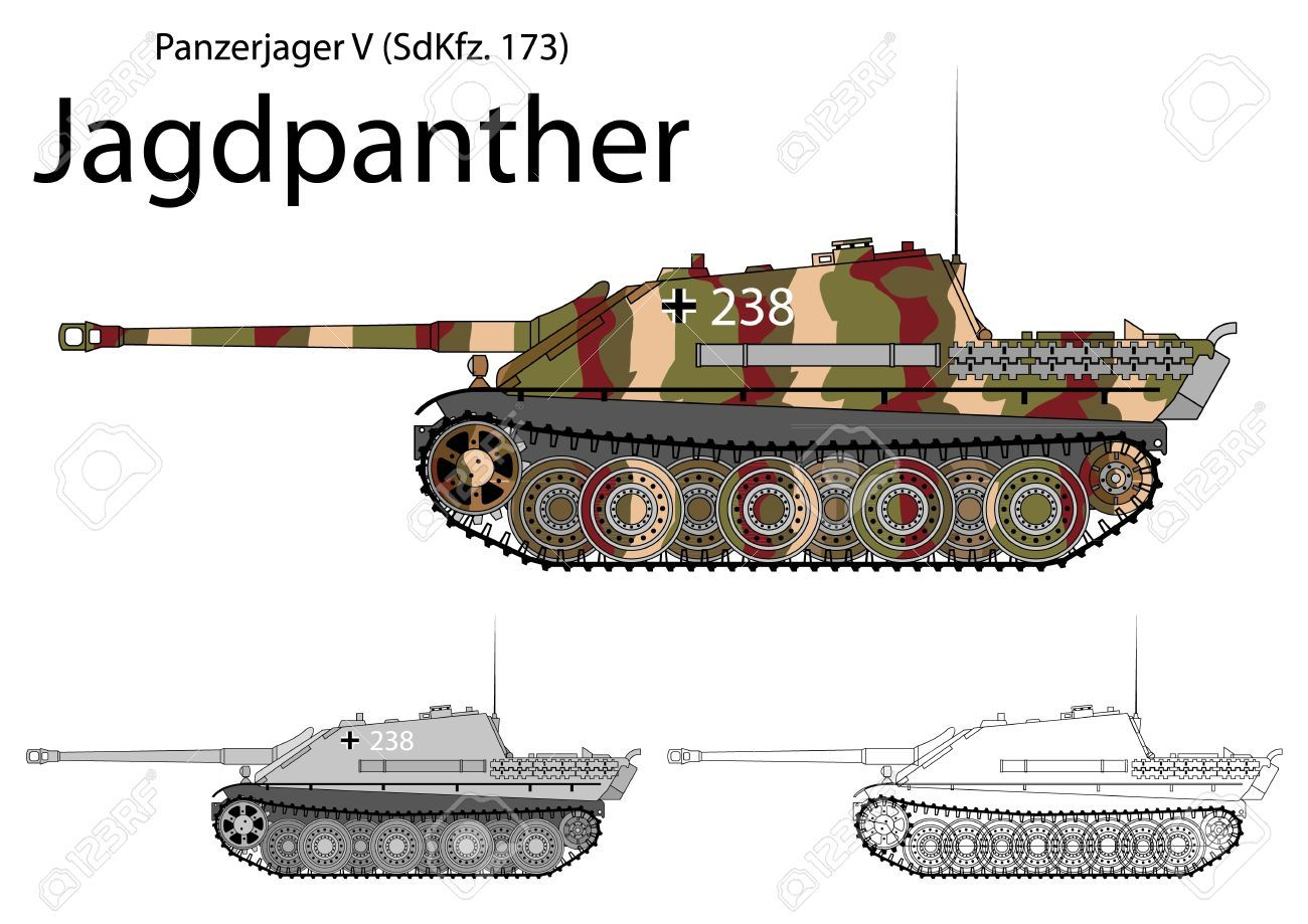 German WW2 Jagdpanther Tank Destroyer With Long 88 Gun Royalty Free Cliparts, Vectors, And Stock Illustration. Image 19494011.
